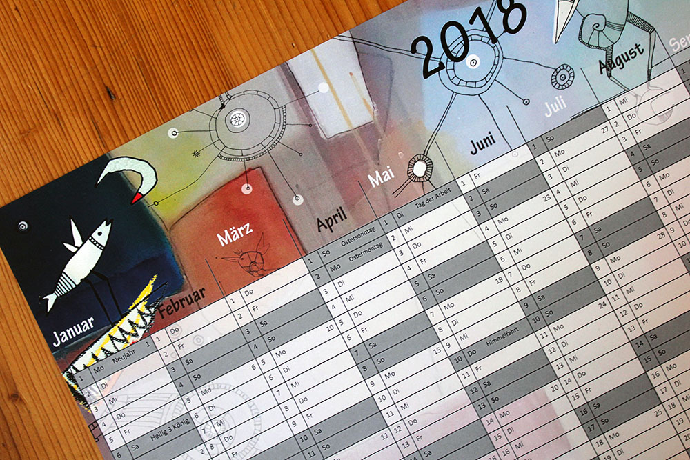 jahresblatt 2018 mit feiertagen